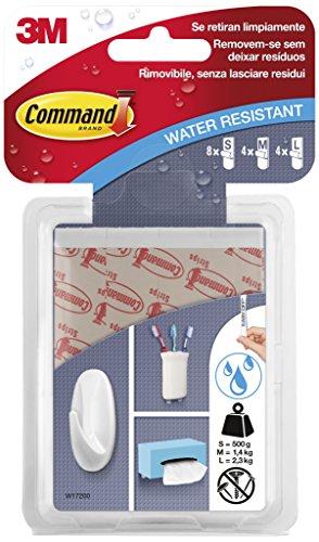 Command W17200 - Pack de 16 tiras en diferentes tamaños, resistentes al agua (8 pequeña + 4 mediana + 4 grande) color blanco