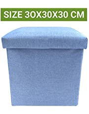 Sterling Foldable Ottoman Storage Box Cum Stool - Linen Fabric Foldable Basket Cubes Organizer Boxes Containers Drawers with Lid