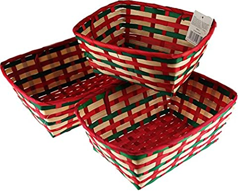 Set Of 3 Green Red Cream Flat Baskets - Make Your Own Food Or Toiletries Hampers!