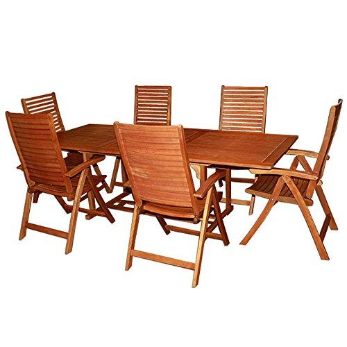 Deuba Wooden Dining Set Chairs Table FSC�-Certified Eucalyptus Wood Unikko 6 Seater