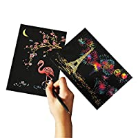 T-shin Scratch-Off Art Paper,Scratch Postcard,Magic Colorful Drawing Board, Painting Doodle Creative Gifts for Kids,DIY Art Supplies Set of 4 with 1 Scratch Stylus (Black-Animal)