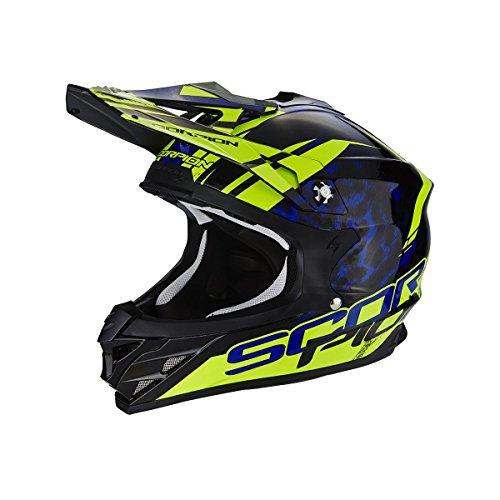 Scorpion Casco Moto VX-15 EVO AIR Kistune, Black/Blue/Neon Yellow, M - Evo Air
