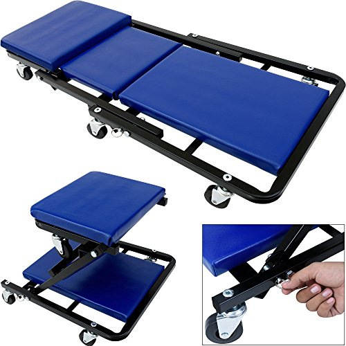 "Price comparison product image Mechanic's Car Creeper Board Foldable Crawler 6 Rotatable Wheels 2-in-1 Board & Stool Seat Folding Garage Workshop Inspection Rolling Adjustable Foldaway 36"" Heavy Duty Trolley"