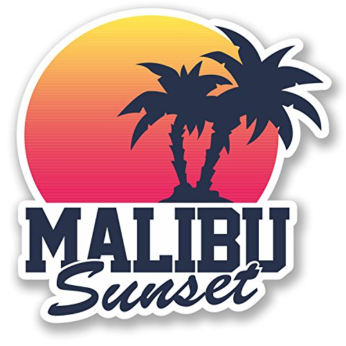 2-x-malibu-sunset-vinyl-sticker-decal-ipad-laptop-luggage-travel-tag-label-5499-10cm-x-10cm
