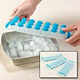 MIR Easy POP up Non Stick ICE Cube Tray Soft Flexible Silicon with LID 21 Slots/Holes (1PC.)