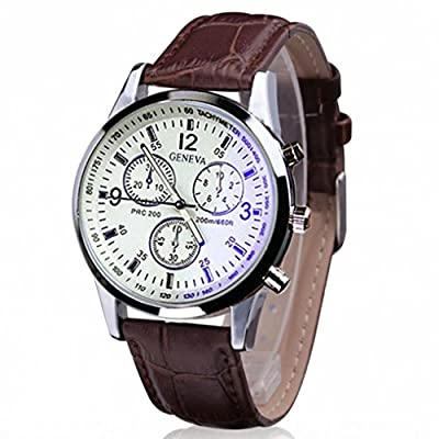 Tonsee Luxury Fashion Faux Leather Mens Quartz Round Dial Analog Watch Watches Coffee produced by Tonsee - quick delivery from UK.