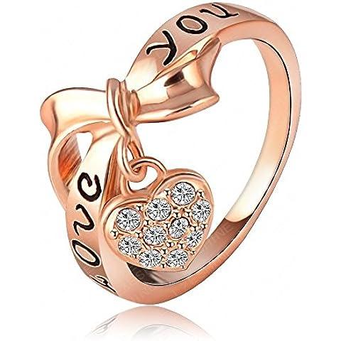 AnaZoz Joyería de Moda Negro Esmalte Love You Anillo Corazón 18K Chapado en Oro Rosa Cristal Austria SWA Element Anillos Love Palabra