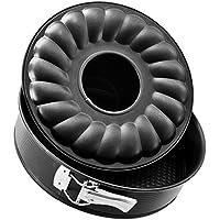 Zenker BLACK METALLIC Molde desmontable 2 fondos en acero con revestimiento antiadherente Teflon. Negro. Ø24x6,5cm. 1ud.