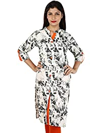 Shree Women's 100% Pure Cotton White Printed Kurti Sherwani Style