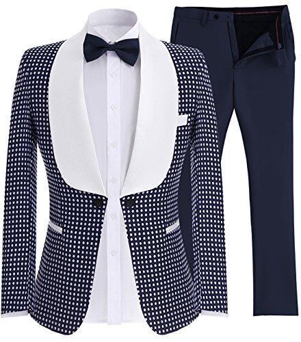 Solovedress Herren zweiteilige Smoking Groomsmen Anzüge One Button Slim Fit Anzüge Blazer (Navy,42) (Anzug Navy Button)