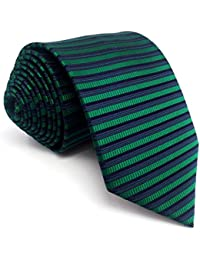 Shlax&Wing Extra largo Hombre Traje De Negocios Corbatas Para Seda Azul Verde Rayas flaca