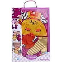Nenuco - Ropita con diseño de gatito amarillo, 3 piezas, para muñeco de 35 cm (Famosa 700012690B)