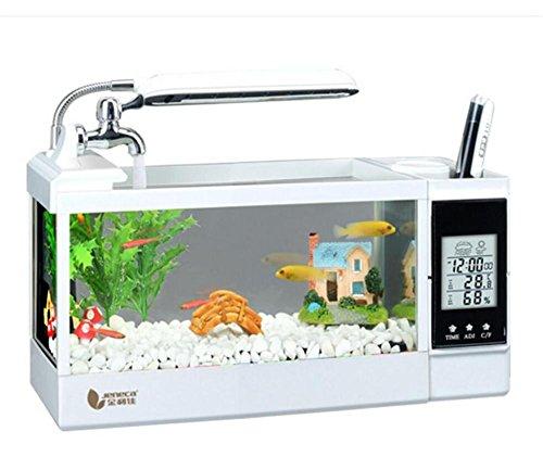 ZWF® Mini LED Leuchten Kalender Temperatur Feuchtigkeit Desktop Aquarium Aquarium Pflanze Steine ??1,5 Liter 2 Liter 2,5 Liter , white , l -