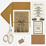 Wedding invitation package WOODLAND FLORAL on texture laid card including twine & tag