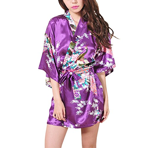 Asian Kostüme Männer Halloween Für (Waymoda Women Luxury Silky Satin Evening Dressing Gown, Ladies Peacock and Blossoms Pattern Kimono Pajamas, 10+ Color, 4 Sizes Optional - Short)