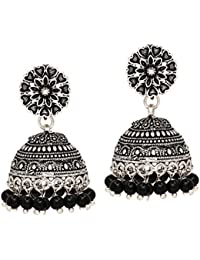 Jaipur Mart Ethnic Collection Jhumki Earrings for Women (Black)(GSE676BLK)