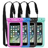 [IPX8 Zertifiziert] Wasserdichte Handyhülle, [4 Stücke] iVoler Wasserdichte Hülle Beutel Tasche, Wasserfeste Handyhuelle, Staubdichte, Stoßfeste, Schneeschutzanlage Wasserdichte Schützhülle für iPhone X/ 8/ 8 Plus/ 7/ 7 Plus/ 6(s) Plus/ SE/ 5S/ 5C, Samsung Galaxy S9/ S9 Plus/ S8/ S8+/ S7/ S7 Edge/ S6/ S6 Edge/ Edge+, Huawei , LG, HTC, Sony Xperia, Motorola, usw bis zu 6.2 Zoll. [Lebenslange Garantie] (Schwarz+Blau+Grüne+Rosa)