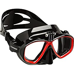 Cressi Action Masque de plongée Mixte, Noir Rouge, Taille Unique