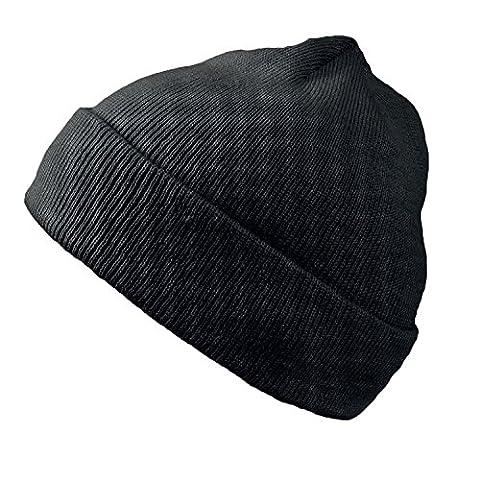 Wind Doppelstrickmütze Umschlagmützen Wintermütze (One Size - schwarz)