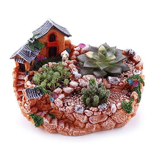 Mucihom vaso decorativo per piante grasse arancione 23cm resina con dolce casa, fioriera da giardino per coltivazione/decorazione da casa interno/esterno