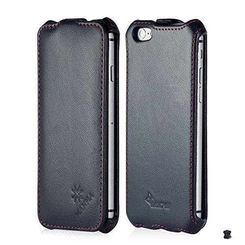 MANNA | Étui / housse / coque de protection luxe pour iPhone 6 de 4,7 pouces | EN CUIR DE NAPPA* | Flip case | Couleur noir Flip Case, Nappa Leder Schwarz