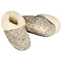 100% Pure Wool Slippers / House Shoes - Roll-over Top Style - Grey (Size 9.5 - 10.5)