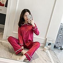 Wanglele Spring-Summer Mañana Bata Vestido Vestido De Satén Pantalones Camisa Mañana Pijama Slim Fit T-Rango De Desgaste Inicio Princesa Novia Traje, Xl, C Rojo