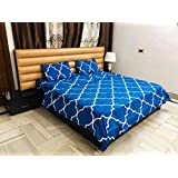 MIL Furnishings Soft Abstract Glace Cotton Queen Size Elastic Fitted Bedsheet with 2 Pillow Covers (Multicolour)