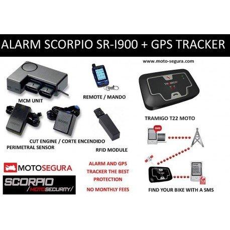 Alarma Scorpio SR-i900 RFID + Localizador GPS/GSM Tramigo sin cuotas mensuales no monthly fees