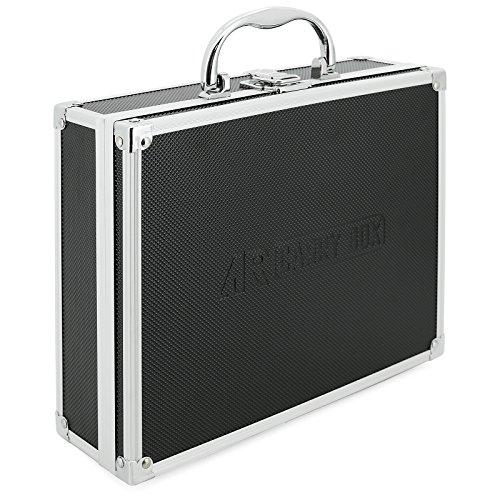 Preisvergleich Produktbild AR Carry Box® Kleine Alubox Alukoffer Aluminium Koffer Werkzeugkoffer leer 260x210x80mm Alu/Schwarz, 260x210x80mm Schwarz (Rasterschaum)