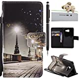 Samsung Galaxy A3 (2016) Coque,Samsung Galaxy A3 (2016) Case -Felfy Flip Style Ultra Slim PU Cuir Fashion Mode Conception Coque Étui Support Protecteur Case Magnétique Pochette Couverture Wallet Case Colorful Painting Design Motif Cuir Coque Magnetic Closure PU Étui Portefeuille Cas Portefeuille Coque Housse Etui Samsung Galaxy A3 (2016) (City at Night) + 1 x Noir Touch Stylus + 1 x Koala Anti Plug