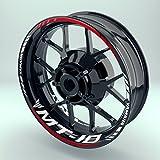 Felgenaufkleber Set Yamaha MT 10 für Motorrad   17 Zoll   Felgenrandaufkleber & Felgenbettaufkleber   Vorder- & Hinterreifen Komplett-Set (Einfach - glänzend)