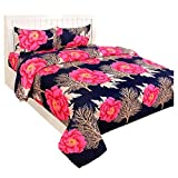 SAITEXINDIA Glace Cotton Double Bedsheet Set – Double Bed Size, Multicolour