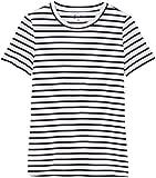 FIND Women's Crew Neck T-Shirt, White (White Stripe), 8 (Manufacturer size: X-Small)