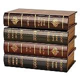 Golden.Y Coffre-Fort avec Serrure, Serre-Livres de Type Livre Ancien en Bois avec boîte de Rangement caché Se termine dans Une bibliothèque décorative Classique.