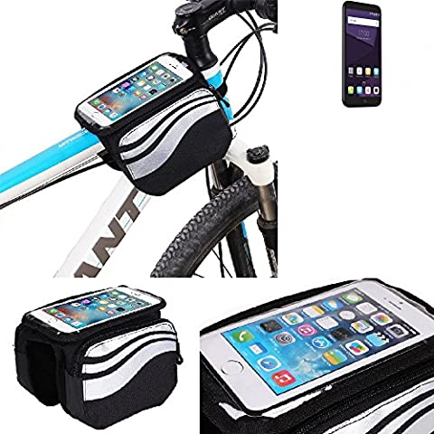 For ZTE Blade A6: Cycling Frame Bag, Head Tube Bag, Front Top Tube Frame Pannier Double Bag Pouch Holder Crossbar Bag, black-silver water resistant -