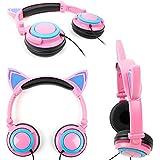 Casque audio aux oreilles de chat avec LED lumineux pour smartphone et tablette enfant et adulte - Rose et bleu - par DURAGADGET