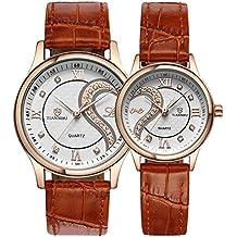 Conjunto de relojes de pulsera románticos para parejas, con adorno de corazones y correa de