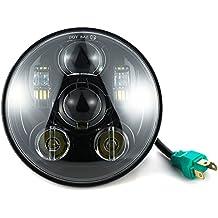 "FuriAuto 5-3/4"" 5.75"" redondo Súper Brillante LED impermeable Luz Lámpara Foco Faro de Trabajo luz de Lectura Bombillas proyector LED Daymaker Faro para Harley Davidson (Negro)"
