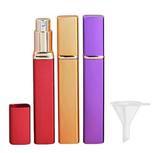 3PCS Bouteille Vide Voyage,Vococal® 12 ML Square Portable Voyage Vide Spray Bouteilles Parfum Conteneurs Flacons Pulvérisateur avec Entonnoir en Plastique(Rouge + Or + Violet)