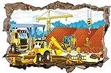 Bauarbeiter Baustelle Cartoon Kinder Wandtattoo Wandsticker Wandaufkleber D0874 Größe 120 cm x 180 cm