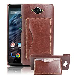 Fettion Motorola Droid Turbo (Only Fit Ballistic Nylon) Case , Premium Leather Wallet [ Flip Bracket ] Case Cover with Stand Card Holder for Moto Droid Turbo XT1225 , Moto Maxx (Bracket - Brown)