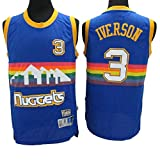 LSJ-ZZ Basketball-Trikot NBA Denver Nuggets # 3 Allen Iverson, kühler atmungsaktiver Stoff Neue bestickte Retro-Trikots, Unisex-Basketball-Fan-Uniform,S:170cm/50~65kg