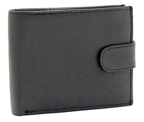 RAS® Herren Weiche Echte Leder Geld Brieftasche, Kreditkarten-Halter, ID-Karte Fenster & Eine Seite Sicherer Reißverschluss Münze Tasche #44 (Schwarz)