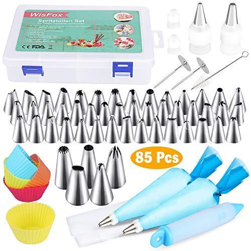 WisFox 85-teiliges Spritztüllen-Set für Kuchendekoration, enthält 50 Tüllen, 22 Spritzbeutel, 5 Cupcake-Formen, 4 Mund-Adapter, 2 Nägel, 1 Seidenblumenstift, 1 Pinsel, Silikon, rot, groß