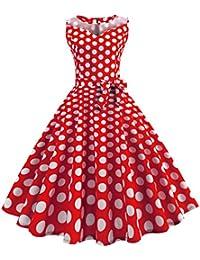 Lilicat Damen Vintage Kleid Sommer Ärmellos Strandkleid Elegant Partykleid  Retro Abendkleid Cocktailkleid Pin Up Swing- 24ebc4f7fe