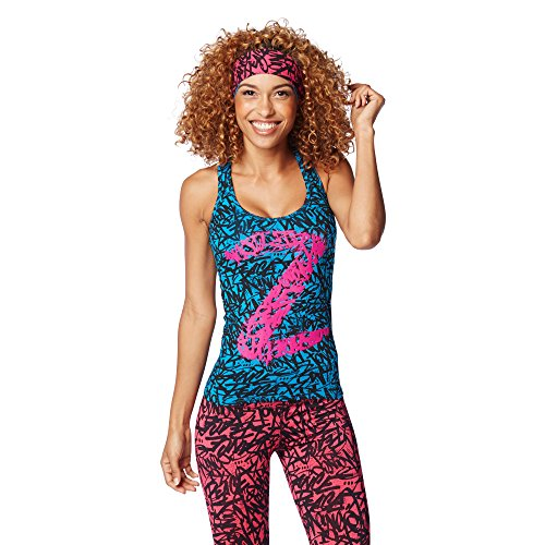 Zumba Fitness Funked Up Racerback Canotta Sportiva, Blu (Sea of Blue), XXL