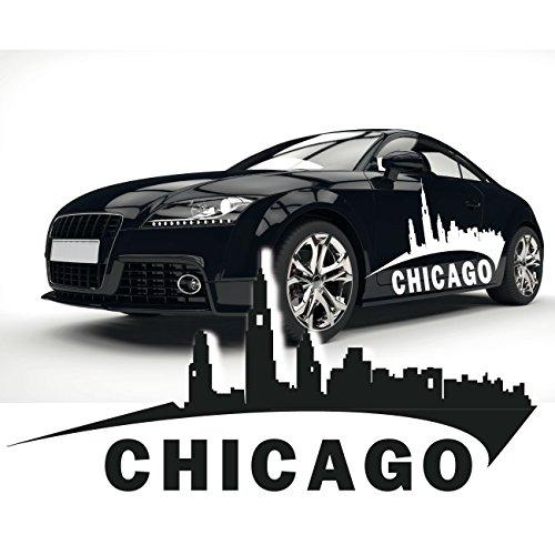 Sticker für das Auto Chicago Skyline Autotattoo Aufkleber der Stadt als Silhouette |SKI016