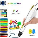 Jiamus 3D Stifte +20 verschiedenen Farben+60m PLA-Filament,3D Stifte Set für Kinder mit PLA 160 Fuß, 3D Pen als kreatives Geschenk für Erwachsene, Bastler zu kritzeleien, basteln, malen und 3D drücken