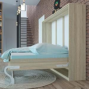 Letto a scomparsa 140 cm orizzontale rovere sonoma letto ribaltabile letto a muro smartbett - Letto ribaltabile a muro ...